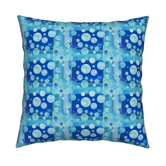 Catalan Throw Pillow featuring DREAM OF AN OCEAN BLUE SEA GARDEN by paysmage…