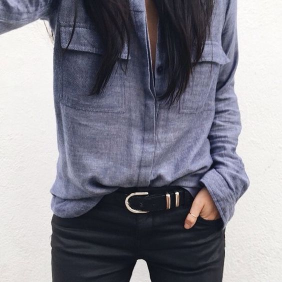 Obsessed with this combo. Such a well tailored and well constructed shirt with almost a stone wash. Excellent dark denim with a basic belt.