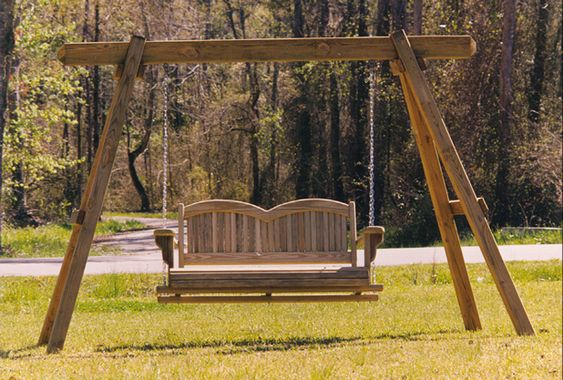 A frame plan for porch swings swing stand this is the for Log swing plans