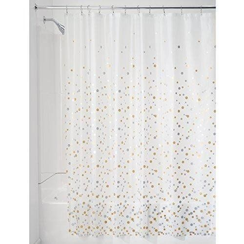 Decorative Peva 3g Shower Curtain Liner 72 X 72 Silver Gold