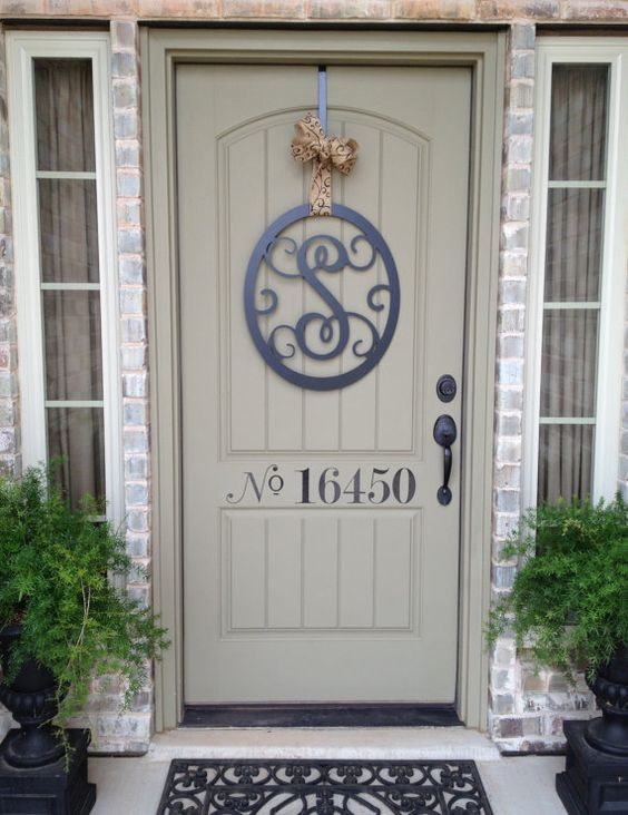 Wall monogram letter wreath steel diy paint by for Metal letters for front door