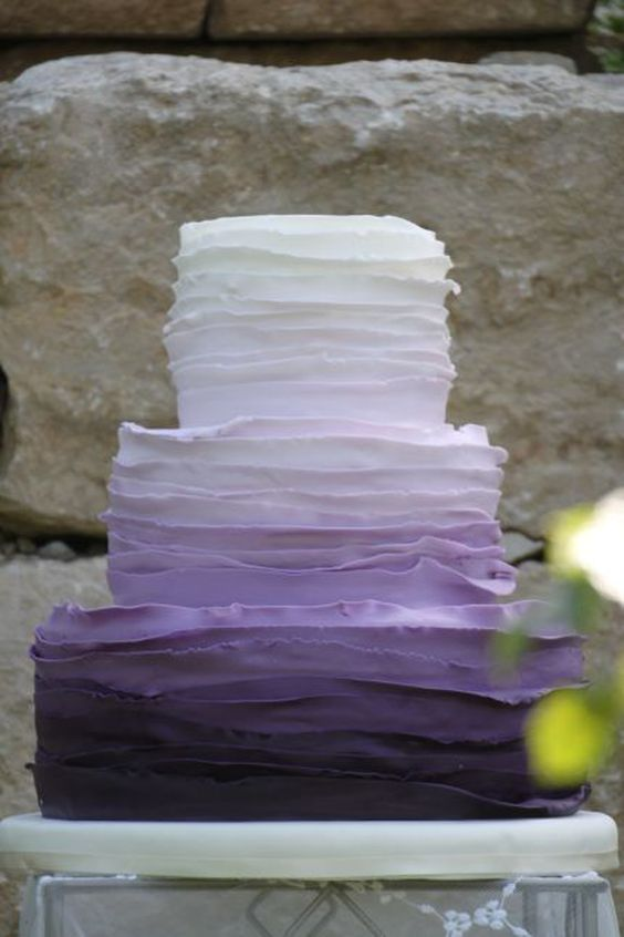 Layers of Lilac Ombre Elegant Wedding Cake Photo