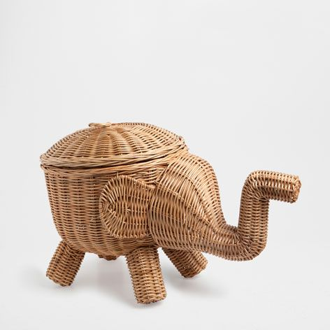 Elephant shaped basket zara home zara and belgium - Elephant hamper wicker ...