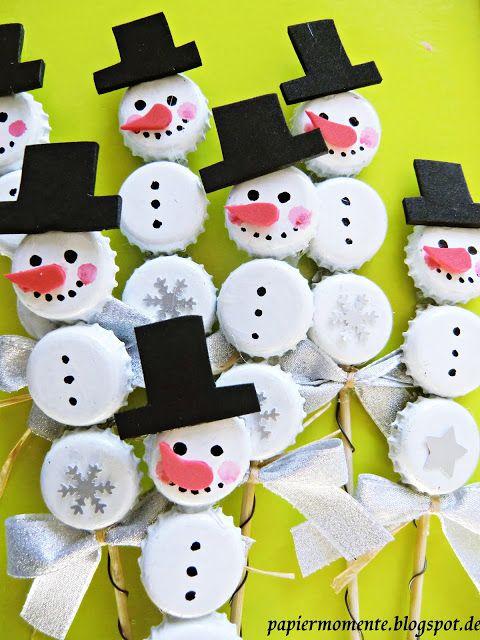 Schneemann basteln mit kronkorken basteln mit wertlosem material pinterest basteln - Weihnachten kindergarten ideen ...