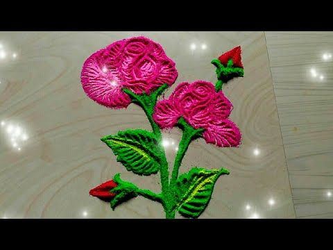 Rose Flowers Rangoli Happy New Year Flower Rangoli 2019 Youtube Flower Rangoli Rose Flower Flowers