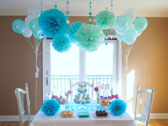 tiffany blue party shower decorations