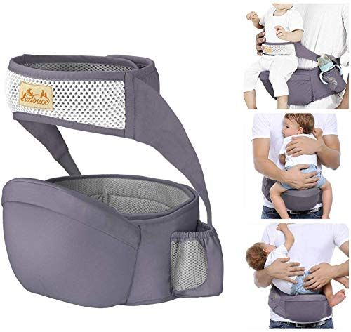 Viedouce Hip Seat Carrier Waist Stool With Safety Belt Protection For Baby Ergonomic Carriers Dark Gray Viedouce In 2020 Front Baby Carrier Baby Carrier Baby Seat