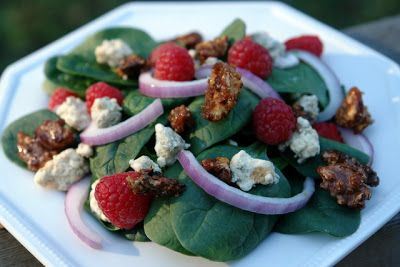 The Pretty Plate: Spinach Raspberry Salad with Feta and Honey Roasted Walnuts
