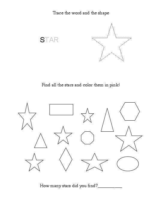 38 Star Shape Worksheets Shapes Worksheets Printable Preschool Worksheets Star Shape Star shape preschool worksheets