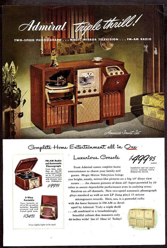 1948 ADMIRAL Smart Set Console TV Television Radio Phonograph AD
