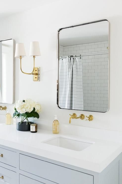 Light Gray And Gold Bathroom Delivers A Simple Classic Appeal