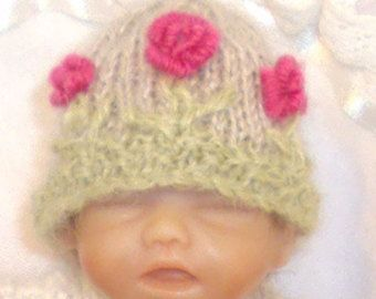 Hand knitted and hand embroidered hat to fit Ashton Drake Handful Doll - Edit Listing - Etsy