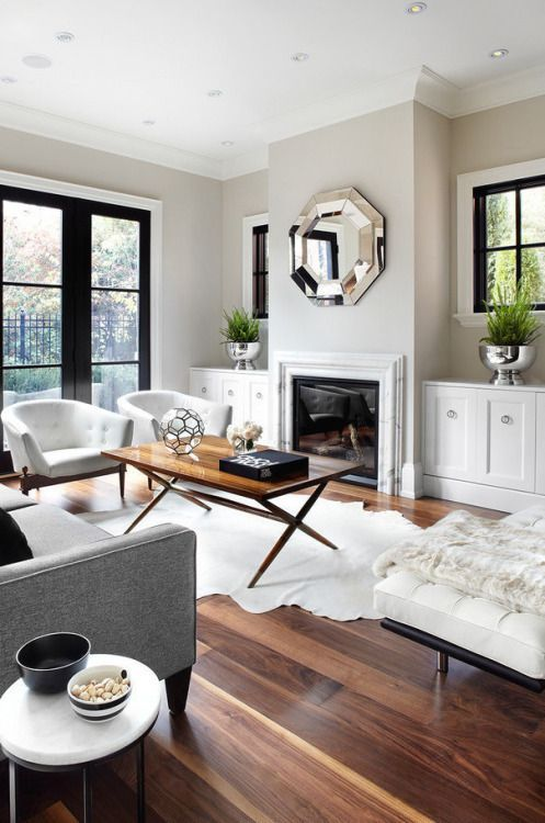 Greige Walls Gray Sofa Beige Chairs White Rug White Lounge Living Room Design Inspiration Cozy Living Room Design Living Decor