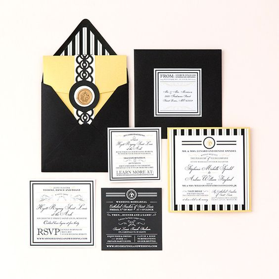 Black White and Gold Wedding Invitations by Pretty Together featuring a Classic French Design and Wax Stamp.