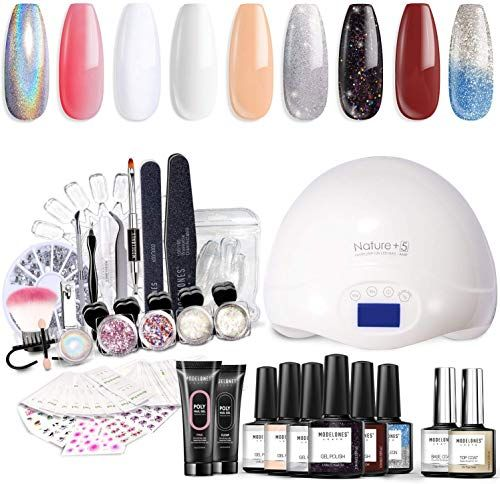 Amazing Offer On Modelones Gel Nail Polish Starter Kit Uv Light 48w Uv Led Nail Lamp Soak Poly Nail Gel Glitter Powder Manicure Tools 6 Color Ngel Polish 10ml In 2020 Nail Polish Kits Gel Nail