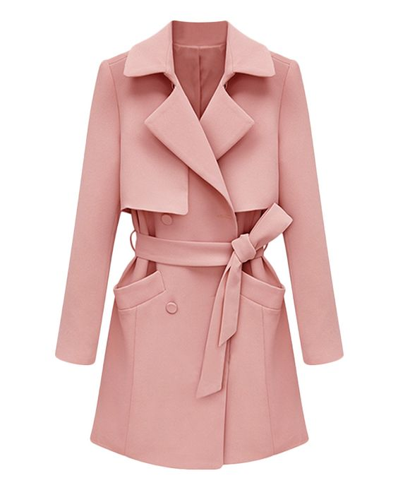 Belted Solid-color Md-long Trench Coat   BlackFive