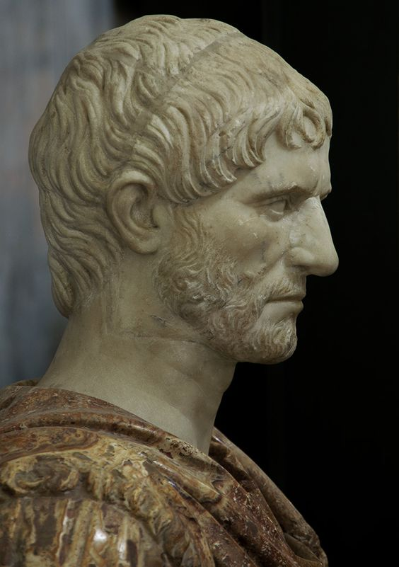 Lucius Junius Brutus - the founder of the Roman Republic and traditionally one of the first consuls in 509 BCE.  White marble. 1st — early 2nd cent. C.E.?  Naples, National Archaeological Museum. Origin:From the Farnese collection.