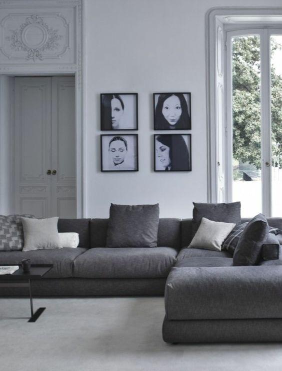 salon moderne avec canap gris chin canap d - Salon Canape Moderne