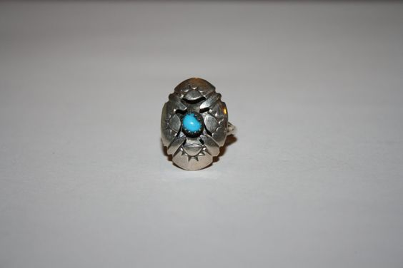 Petite Turquoise and Sterling Vintage Ring Size 4.25- free ship US (35.00 USD) by StansGoldMine
