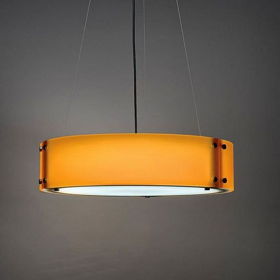 #Invicta 16359. A contemporary LED drum pendant, shown in our  Sunrise Orange acrylic diffuser with Dark Iron modern caps.  Nothing says #Autumn, like warm hues of oranges and yellows! #UltralightsLighting #lights #lighting #lightingdesign #interiordecor #interiordesign #interiorstyling #interior #interiors #design #hospitality #hospitalitydesign #InteriorDesigners #Architects #DecorativeLighting