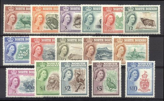 NORTH BORNEO #280-95 Mint - 1961 QE II Pictorial Set