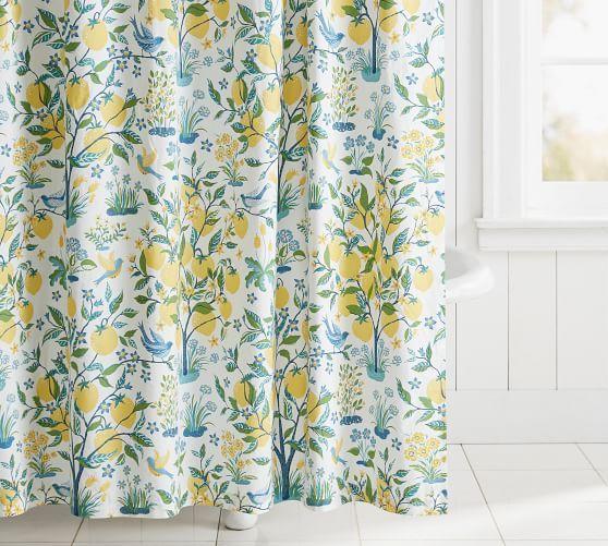 Capri Lemon Tree Print Organic Shower Curtain 72x72 Multi