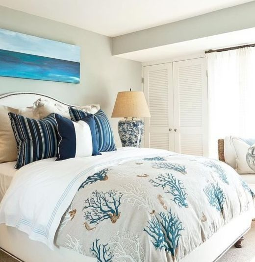 Coral Reef Print Bedding Ideas Coastal Bedroom Decorating