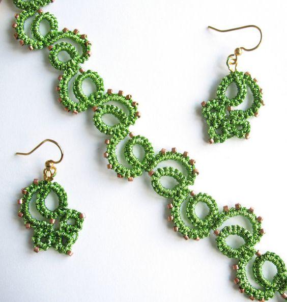 Metallic Spring Green Tatted Vine Bracelet and by BobbleandWeave