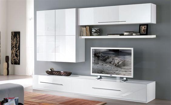 parete soggiorno bianco invecchiato composizione 9 | arredamento x ... - Soggiorno Pamela Mondo Convenienza 2