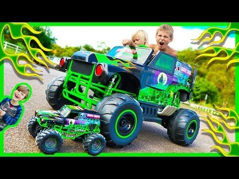 Power Wheels Ride On Monster Truck Grave Digger Crushes Rc Monster Truck Surprise Toy Unboxing Youtube Monster Trucks Rc Monster Truck Monster Truck Videos