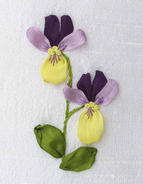 Pansies silk and ribbon embroidery on pinterest