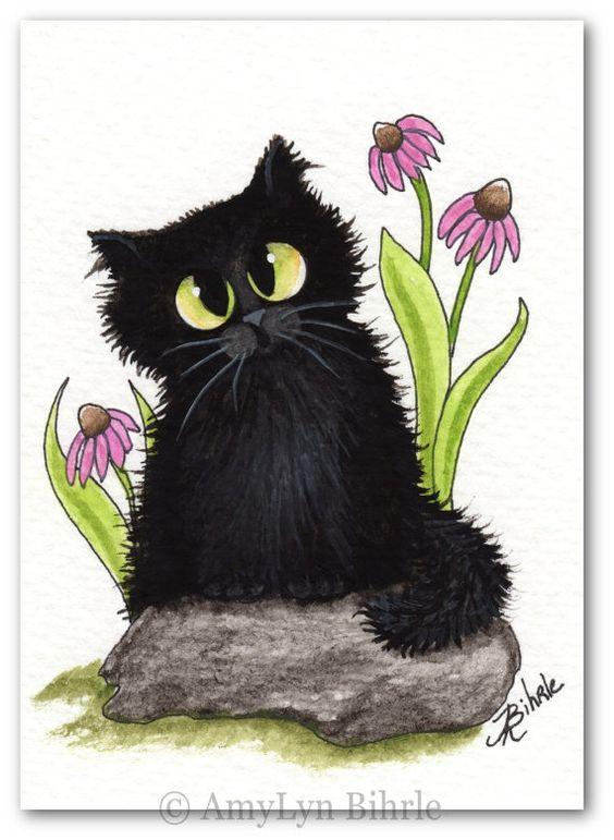 Black Fuzzy Cat Cone Flowers Fuzzy Cutie Pie Cat Art - Art Print or ACEO by Bihrle ck435: