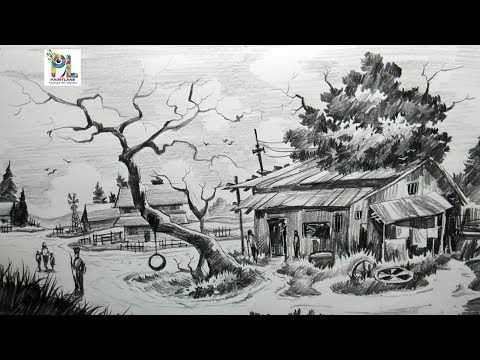 How To Draw Easy And Simple Village Scenery With Pencil Step By Step Scenery Drawing Youtube Drawing Scenery Landscape Pencil Drawings Easy Drawings