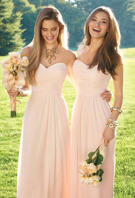 pink long chiffon bridesmaid dresses /  http://www.himisspuff.com/bridesmaid-dress-ideas/11/