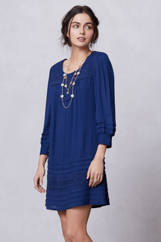 I'm so drawn to this beautiful shade of blue.  Cruz Peasant Shift - Anthropologie.com