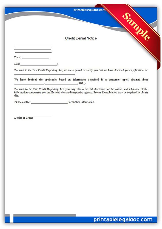 Printable credit denial notice Template PRINTABLE LEGAL FORMS - loan repayment form template