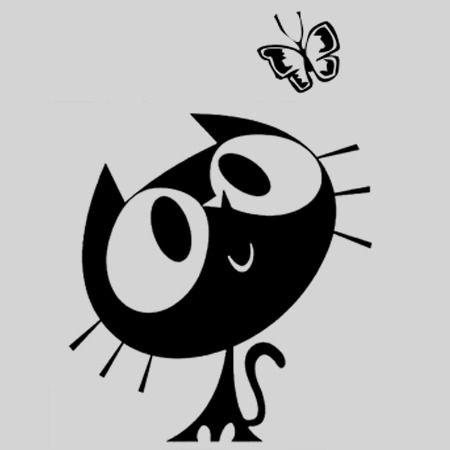 Cutie Kitten silhouette. Website has a ton of vinyl models & ideas. /  Chat et Papillon
