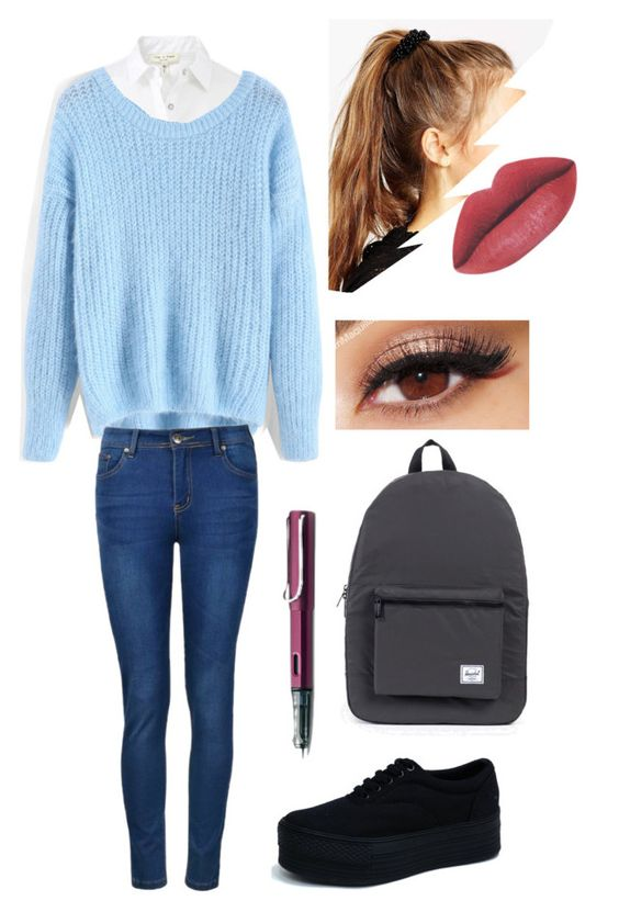 """My Real Look to go to College"" by agustinacha on Polyvore featuring moda, rag & bone, Herschel Supply Co., ASOS, Lancôme, Ally Fashion, Lamy, women's clothing, women y female"