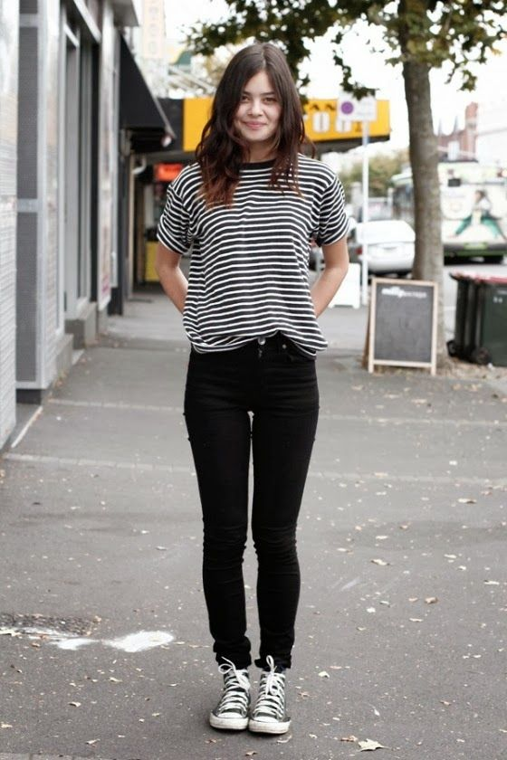 Sneakers outfit: Striped top, black jeans and black converse ...