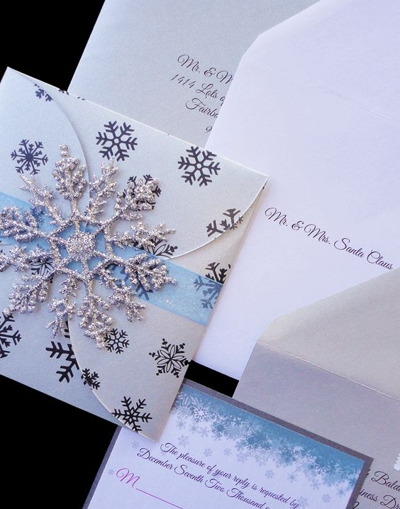 Elegant Custom Blue And Silver Sparkle Snowflake Wedding Invitation With Swarvoski Crystals