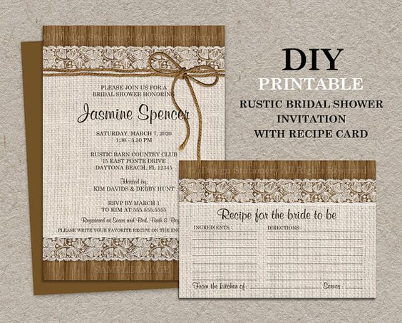 Postcard Wedding Shower Invitations: DIY Printable Rustic Bridal Shower Invitation With Recipe