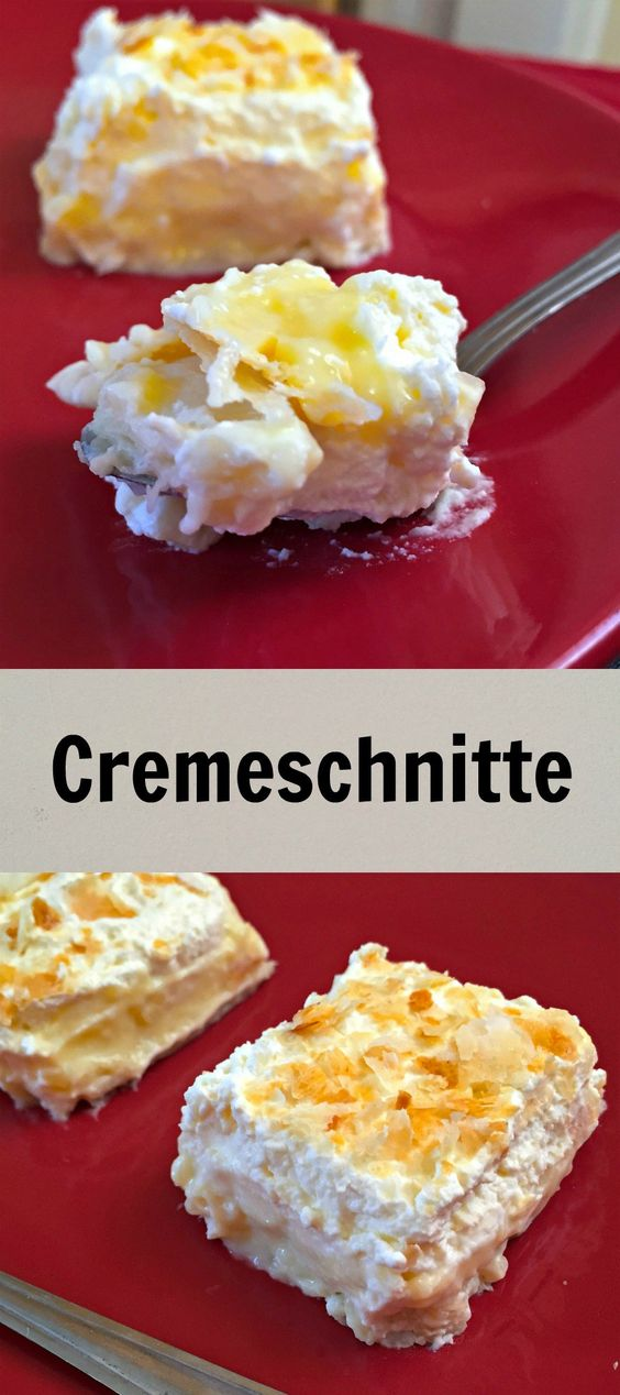 Cremeschnitte or Cream Slices, a gorgeous dessert that is very popular in Europe. Made of a puff pastry base and topped with custard cream and whipped cream, this is by far the best cake recipe I have had recently.