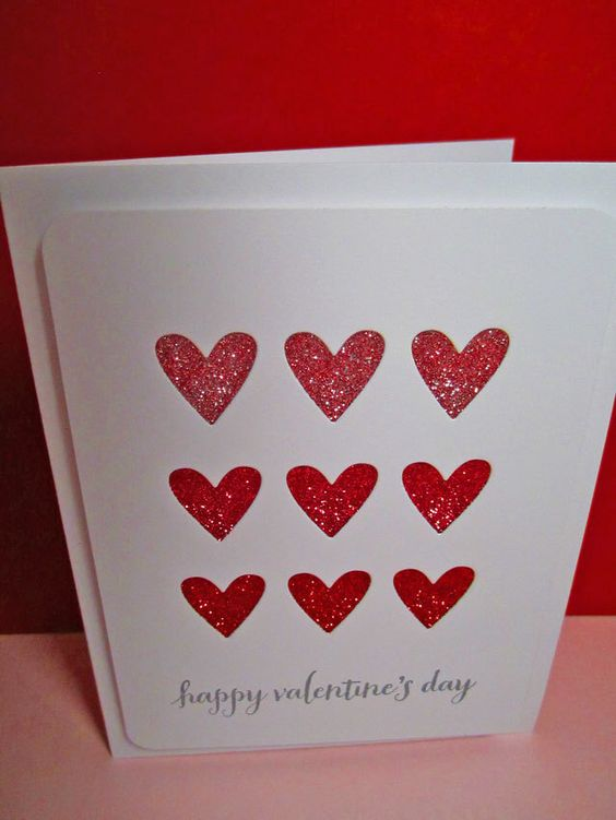 4 Valentine Cards with Glitter Hearts, Valentine Card, Set of Valentine Cards by ayellowbirdstudio on Etsy https://www.etsy.com/listing/175109170/4-valentine-cards-with-glitter-hearts
