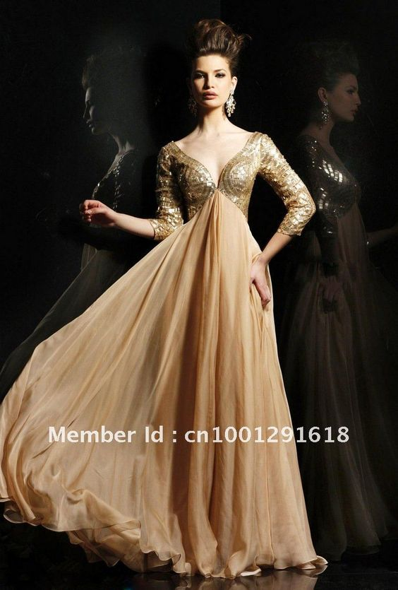 OB009 Long Sleeves V Neck Sequin Floor Length Gold Evening Dresses ...
