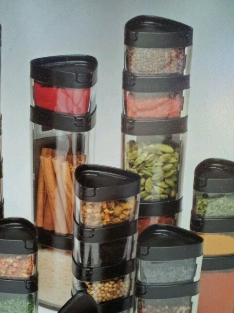 Airtight, interlocking spice jars. BPA free and keep spices fresh for longer.
