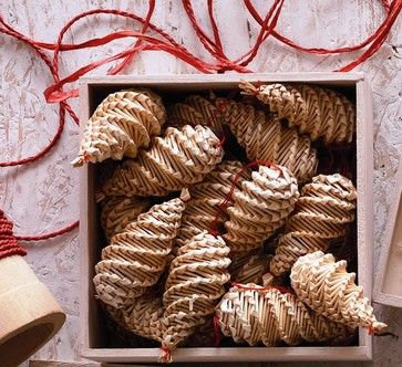 Stellen Straw Nordic Pine Cones contemporary-holiday-decorations