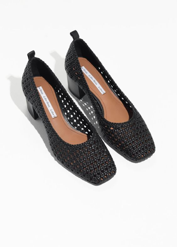 Back image of Stories square toe woven heels in black