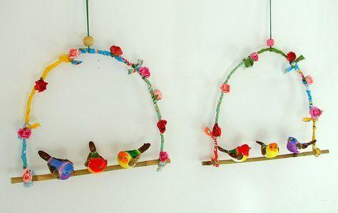 Vogels op een stokje knutselen