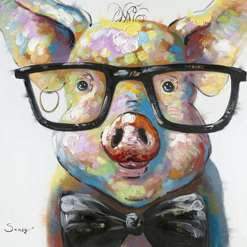 Moes-Home-Collection-Smart-Pig-Painting-Print-RE-1117-37.jpg (500×500)