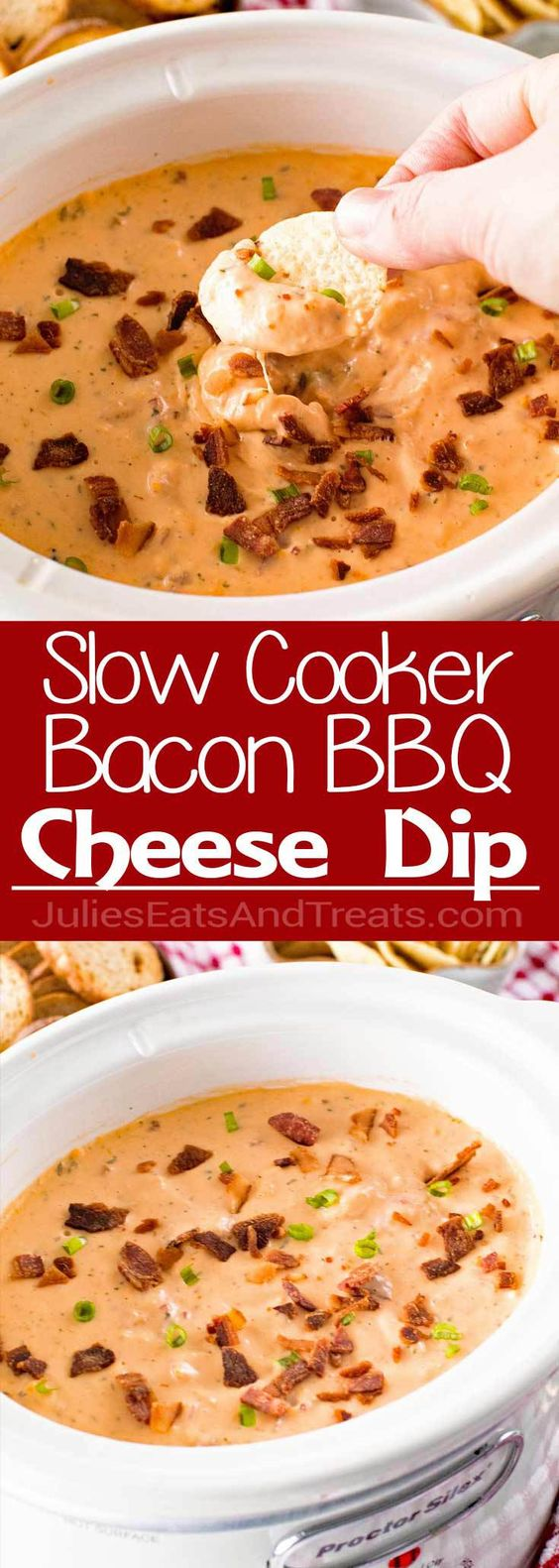 Slow Cooker Bacon Cheesy BBQ Chicken Dip SLOW COOKER BACON CHEESY BBQ CHICKEN DIP
